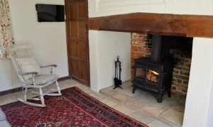 Log-burning stove in the sitting room